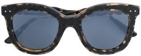 Bottega Veneta square frame woven detail sunglasses