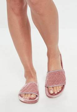 Missguided Slydes Pink Wrapped Quilt Velour Sliders