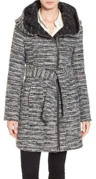Catherine Malandrino Women's Hooded Tweed Coat