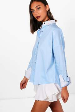 boohoo Contrast Collar & Cuff Button Sleeve Shirt
