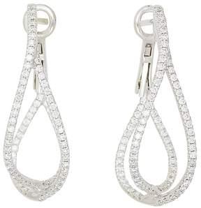 Frederic Sage 18K White Gold Diamond Crossover Loop Earrings