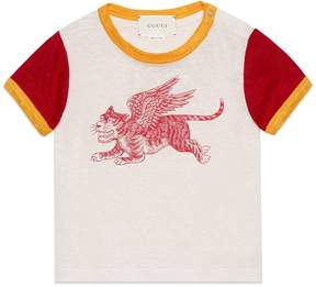 Gucci Baby linen T-shirt with winged tiger print