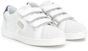 Dolce & Gabbana Kids perforated touch strap sneakers