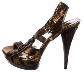 Michael Kors Embossed Leather Sandals