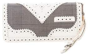 Christian Dior Leather-Trimmed Check Clutch