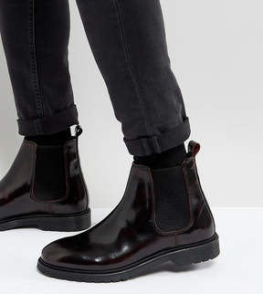 Asos Wide Fit Chelsea Boots In Burgundy Leather With Ribbed Sole