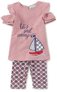 Rare Editions Baby Girls 12-24 Months Let's Sail Away Cold Shoulder & Geometric-Printed Leggings Set