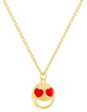 Bliss Heart Eye Smily Face Necklace in Yellow Gold