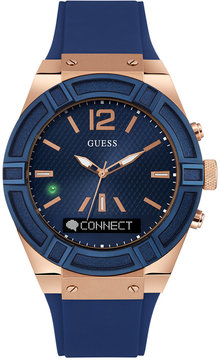 GUESS Men's Analog-Digital Connect Blue Silicone Strap Smart Watch 45mm C0001G1