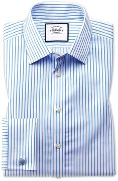 Charles Tyrwhitt Slim Fit Non-Iron Twill White and Sky Blue Stripe Cotton Dress Shirt French Cuff Size 14.5/33