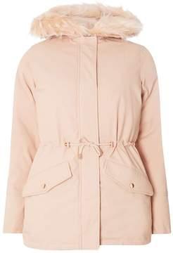 Dorothy Perkins Pink Faux Fur Hooded Parka Coat