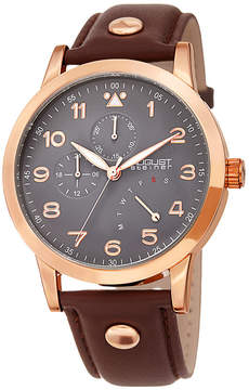 August Steiner Mens Brown Strap Watch-As-8244rg