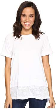 Allen Allen Short Sleeve Raglan Crew with Lace Hem Women's Clothing