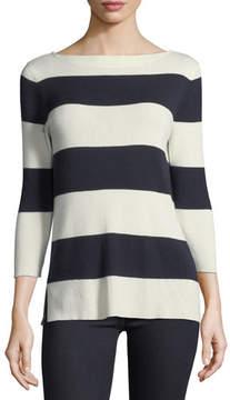 Neiman Marcus Silk-Cashmere Blend Striped Sweater