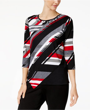 Alfred Dunner Talk Of The Town Embellished Striped Top