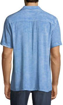 Neiman Marcus Distressed Short-Sleeve Sport Shirt