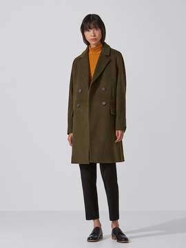 Frank and Oak Double-Breasted Cocoon Coat in Military Green