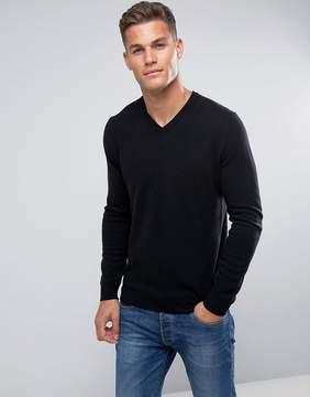 Benetton 100% Merino V-Neck Sweater In Black