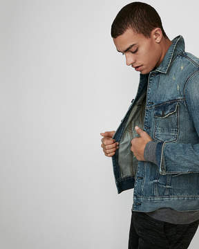 Express Distressed Denim Trucker Jacket