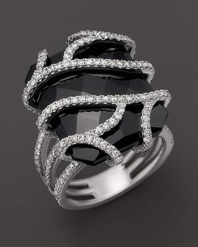 Bloomingdale's Diamond and Black Onyx Ring in 14K White Gold, 1.20 ct. t.w.