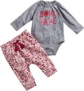 Jessica Simpson 2Pc Jersey Bodysuit & Printed French Terry Pant Set