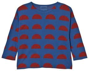 Bobo Choses Blue and Red Crest Print T-Shirt