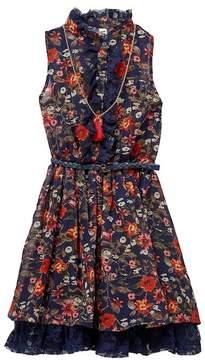 Beautees Belted Floral Dress & Necklace Set (Big Girls)