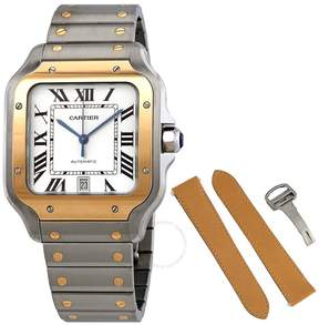 Cartier Santos Automatic Silvered Opaline Dial Steel and 18kt Yellow Gold Men's Watch W2SA0007