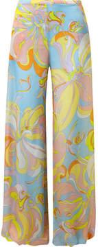 Emilio Pucci Printed Silk-jersey Wide-leg Pants - Light blue