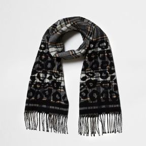 River Island Womens Grey check and leopard print scarf