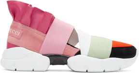 Emilio Pucci Pink and Orange Colorblock Slip-On Sneakers