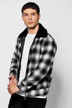 boohoo Black Check Harrington With Borg Collar