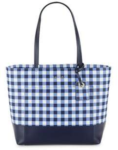 Kate Spade Gingham Leather Tote - NAVY WHITE - STYLE