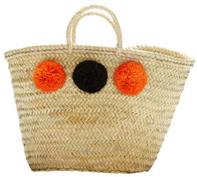 MALAGA, French Market Basket, with Pompoms (Orange and Black)