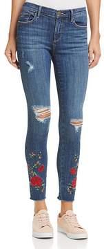 Aqua Embroidered Distressed Skinny Jeans in Indigo - 100% Exclusive
