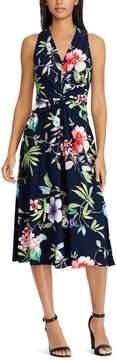 Chaps Petite Floral Knot-Front Halter Dress
