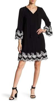 Chelsea & Theodore Embroidered Bell Sleeve Dress