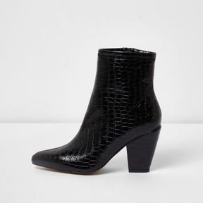 River Island Womens Black snake pointed cone heel boots