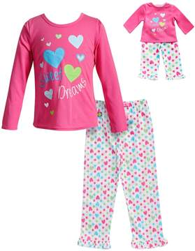 Dollie & Me Girls 4-14 Sweet Dreams Heart Top & Bottoms Pajama Set