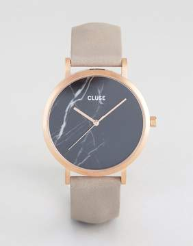 Cluse La Roche Rose Gold & Black Marble Leather Watch