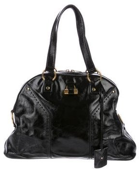 Saint Laurent Leather Muse Tote - BLACK - STYLE