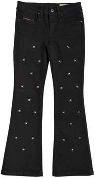Diesel Boot Cut Star Studs Stretch Denim Jeans