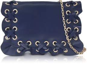RED Valentino Prussian Blue Rock Ruffle Leather Pouch