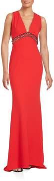 Carmen Marc Valvo Women's Embellished V-Neck Gown