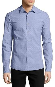 Michael Kors Dobby-Dot Slim Shirt, Blue