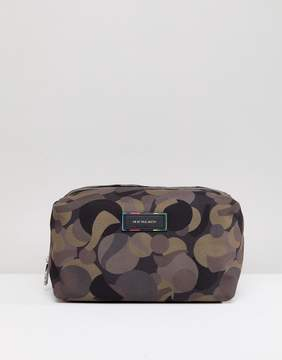 Paul Smith Canvas and Leather Trim Camo Toiletry Bag in Khaki