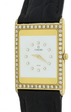 Concord Delirium 50.90.667 18K Yellow Gold Diamond Quartz White Dial 23mm Womens Watch