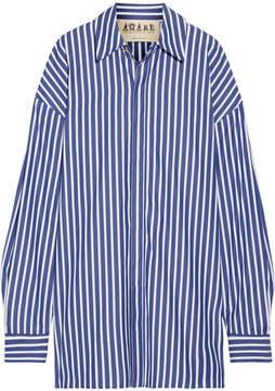 Awake Oversized Striped Cotton-poplin Shirt - Royal blue