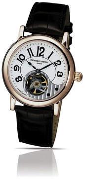 Frederique Constant Silver Dial Black Leather Men's Watch