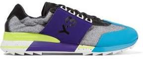 Y-3 + Adidas Originals Rhita Sport Leather-Trimmed Mesh And Neoprene Sneakers